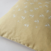 Bees in Clover Collection - Hand Printed Yellow Linen Cushion