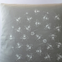 Bees in Clover Collection - Hand Printed Grey Linen Cushion