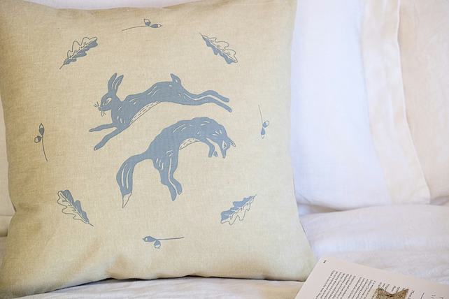 SALE: Hand Printed Linen Fox & Hare Cushion Cover