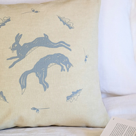 Hand Printed Linen Cushion - Hare and Leaping Fox Design
