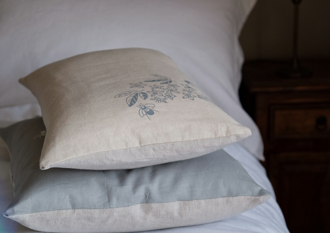 Small Bedroom Cushion - Hand Printed with Bees