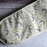 Hand printed oven glove, oven mitt with fox design