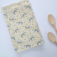 Hand printed tea towel - natural cotton tea towel with fox design