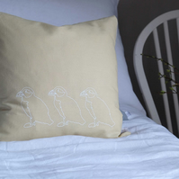 Hand Printed Yellow Linen Cushion - Puffins on Parade Collection