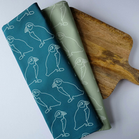 2 Tea Towel Set - Teal & Sage Puffins on Parade Design
