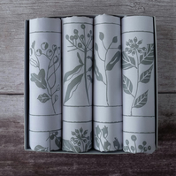 Hand Printed Set of 4 Napkins - Hedgerow Design