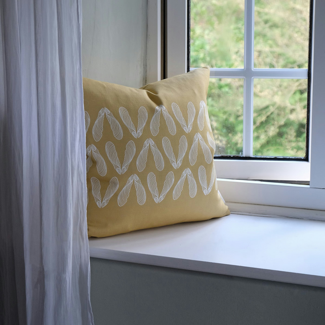 Ochre Sycamore Seed Cushion