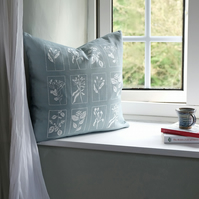 Blue Grey Hedgerow Cushion