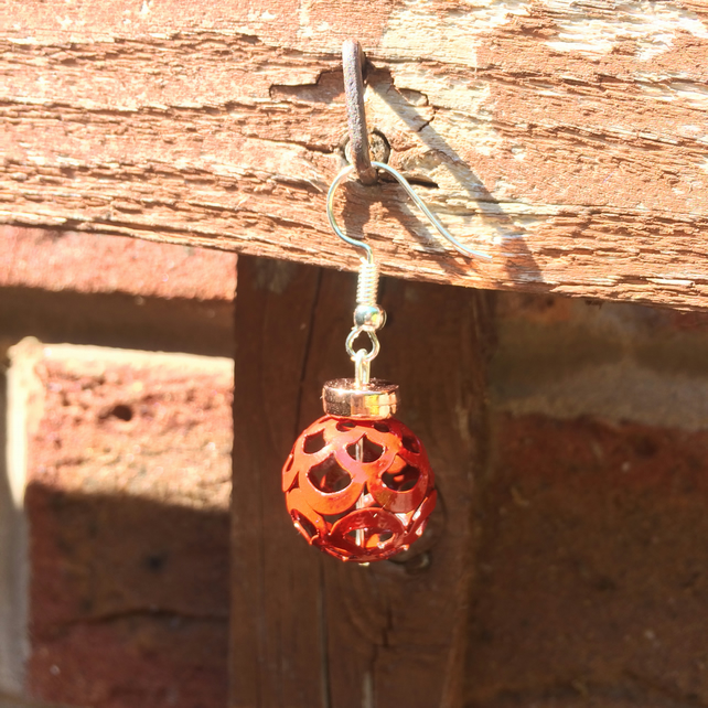Red Metal Holed Drop Earrings