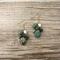 Turquoise, Pearl and Semi-Precious Stone Bead Cluster Earrings