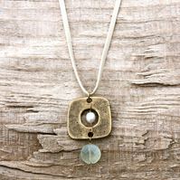 Pearl in Gold Square with Aqua Glass Bead Pendant