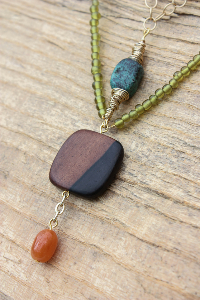 Turquoise, Ebony Square and Carnelian Drop Beaded Necklace