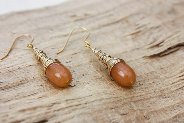 Carnelian Wire Coil Drop Earring