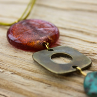 Italian Orange Glass Disk, Antique Gold Square with Turquoise Bead Pendant