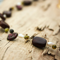 Roble Wood, Jasper, Wild Pearl, Agate and Czech Glass Choker Necklace