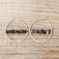 Sterling Silver Hoop Earrings with Tourmaline Gemstones