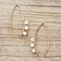 Gold Filled Wire and Mother of Pearl Wishbone Threader Earrings