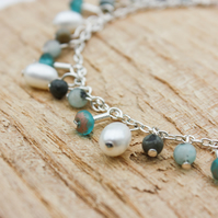 Pearl, Agate and Czech Glass Beaded Silver Chain Bracelet