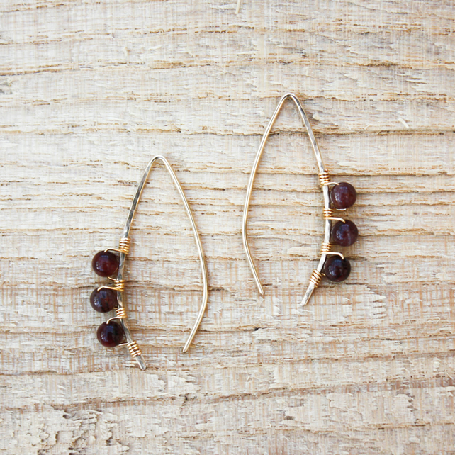 Gold Filled Wire and Red Tiger's Eye Wishbone Threader Earrings