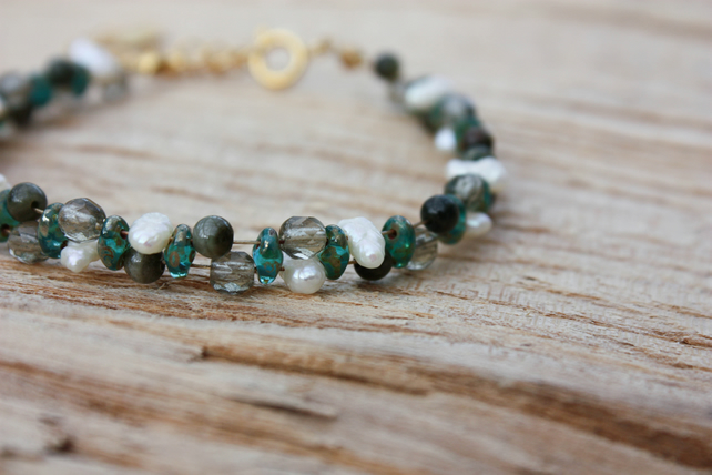 Wild Pearl, Tourmaline and Czech Glass Beaded Bracelet