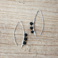 Sterling Silver and Black Tourmaline Wishbone Threader Earrings
