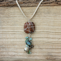 Wire Tangled Roble Wood Pendent and Semi-Precious Stone Cluster Necklace
