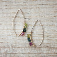 Gold Filled Wire and Tourmaline Wishbone Threader Earrings