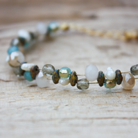 Czech Glass and Wild Pearl Beaded Bracelet
