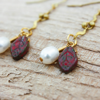 Hanging Pearl and Czech Glass Leaf Earrings