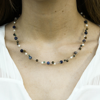 Sodalite, Jasper, Turquoise and Mother of Pearl Choker Necklace
