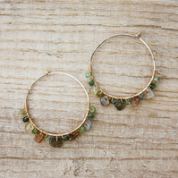 Gold Filled Hoop Earrings with Green Tourmaline Gemstones