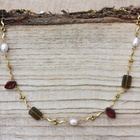 Pearl, Czech Glass and Leaf Bead Necklace