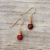 Gold Wire Wrapped Red Agate Earrings
