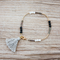 Onyx, Mother of Pearl and Cotton Tassel Bracelet