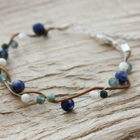Sodalite, Turquoise, Mother of Pearl and Silk Twist Bracelet