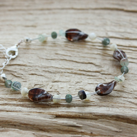Mother of Pearl, Aqua Shell and Purple Glass Helix Beaded Bracelet