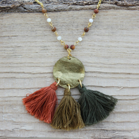Gold Coin and Orange, Olive Green and Dark Green Tassel Necklace