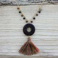 Circular Wooden Pendant and Multi-tone Cotton Tassel Necklace
