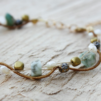 Chrysoprase, Pearl, Czech Glass and Silk Twist Bracelet