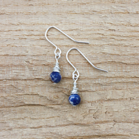 Silver Wire Wrapped Sodalite Earrings