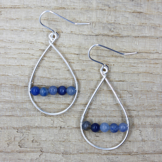Blue Aventurine Silver Wire Teardrop Earrings