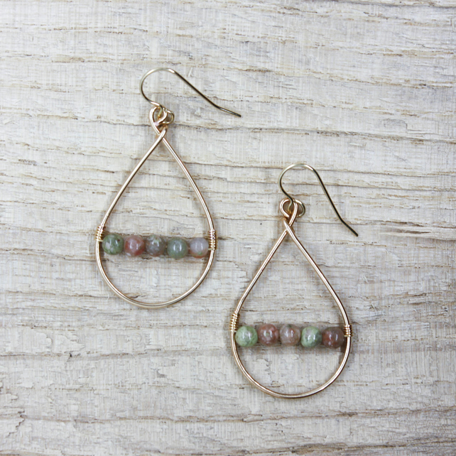 Epidote Gold Wire Teardrop Earrings