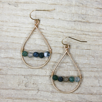 Moss Agate Gold Wire Teardrop Earrings