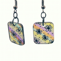 Flower earrings, Boho earrings, Shrink plastic rainbow earrings, Stained Glass