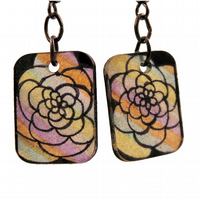 Multicoloured flower earrings, Boho earrings, Stained glass earrings, Flowers
