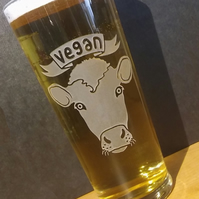 Pint Glass, Beer Glass With Sandblasted, Etched VEGAN COW. Vegan Gift.