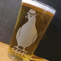 Pint Glass, Beer Glass with Etched,Sandblasted PIGEON COOOL. Pigeon Lover's Gift