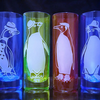 PENGUINPARTY! Set Of 4 Sandblasted, Etched Shot Glasses. Penguins With Hats.