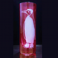 Sandblasted, Etched RED VIOLET Shot Glass. King Penguin With Flat Cap.