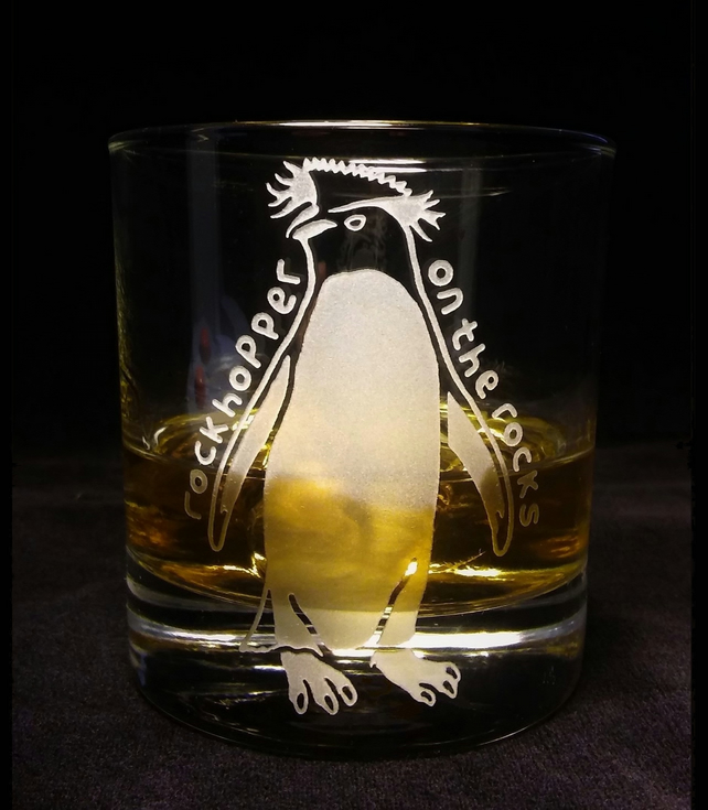 Whisky Glass  with Etched, Sandblasted Penguin. 'Rock Hopper On The Rocks'.